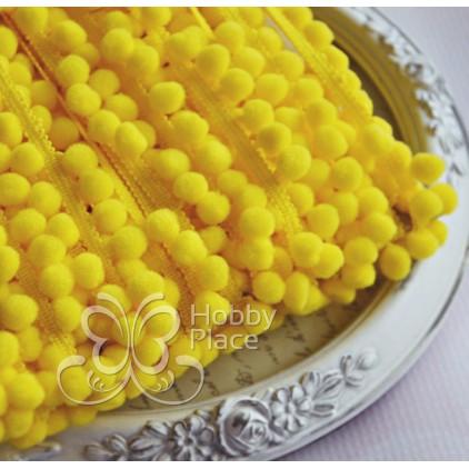Taśma z pomponikami - żółta
