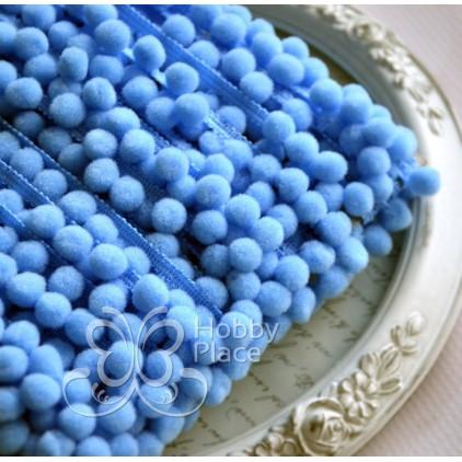 Taśma z pomponikami - niebieska