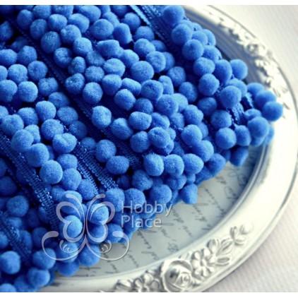 Taśma z pomponikami - ciemnoniebieska