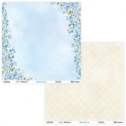Set of scrapbooking papers - ScrapAndMe - Blossom Blue - 01/02