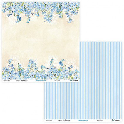 Set of scrapbooking papers - ScrapAndMe - Blossom Blue - 03/04