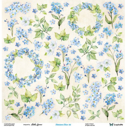 Set of scrapbooking papers - ScrapAndMe - Blossom Blue - 05/06
