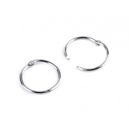 Metal circles for binding albums, notebooks - silver 3.8 cm