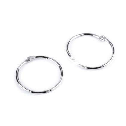 Metal circles for binding albums, notebooks - silver 4.0 cm