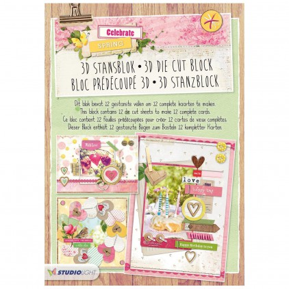 Blok papierów do tworzenia kartek i scrapbookingu - Studio Light - Celebrate Spring- Die Cut Block - STANBLOKCS50