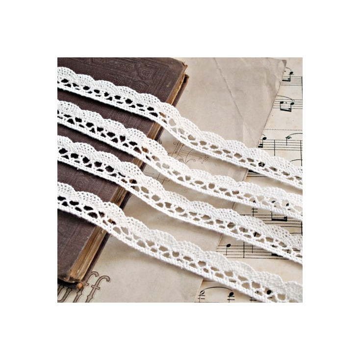 Koronka bawełniana - kremowa - 1 metr