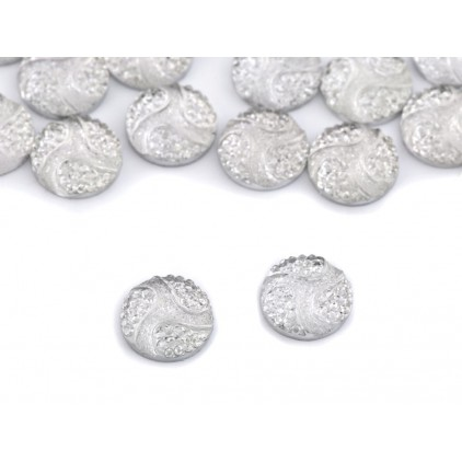 Ground pebbles, cabochon, flower centers 1.0 cm - clear 04