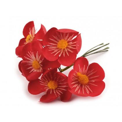 Zestaw tekstylnych kwiatów - kaczeńce czerwone - 6 sztuk