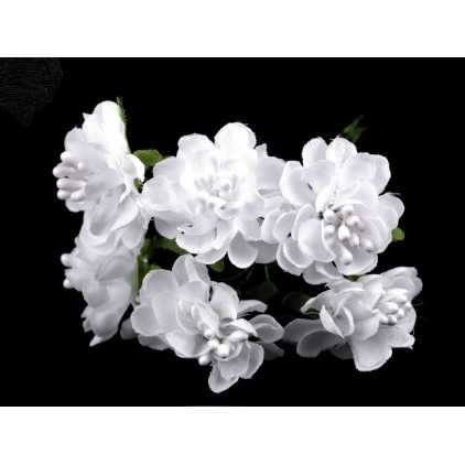 Set of textile flowers - white - 6 pcs