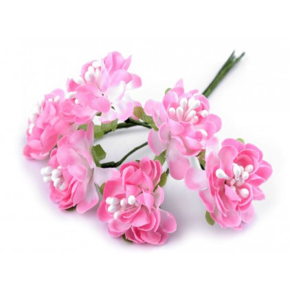 Set of textile flowers - pink - 6 pcs