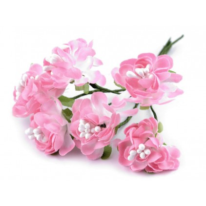 Set of textile flowers - cotton candy - 6 pcs