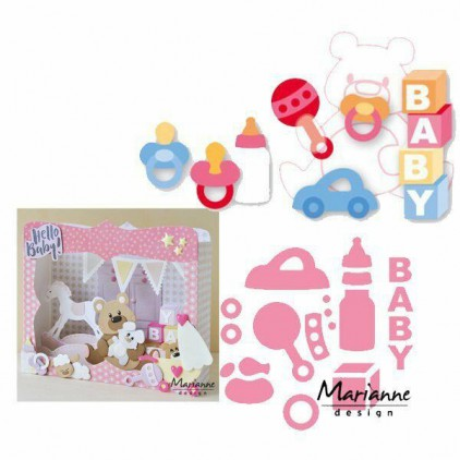 Die-cut- Marianne Design Collectables Baby essentials- COL1421