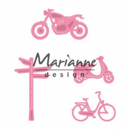 Die-cut- Marianne Design Collectables Decoration set bycicle- COL1436
