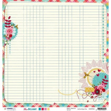 Papier do tworzenia kartek i scrapbookingu - Studio Light - Flower Delight - SCRAPFD03