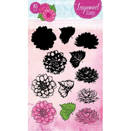 Set of clear stamps - Studio Light - A5 Layered Flowers Stamps - STAMPLS19