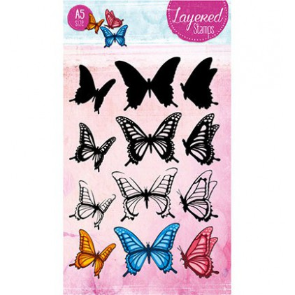 Set of clear stamps - Studio Light - A5 Layered Butterlies Stamps - STAMPLS20