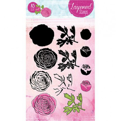 Set of clear stamps - Studio Light - A5 Layered Peony - STAMPLS22
