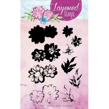 Set of clear stamps - Studio Light - A6 Layered flower - STAMPLS01