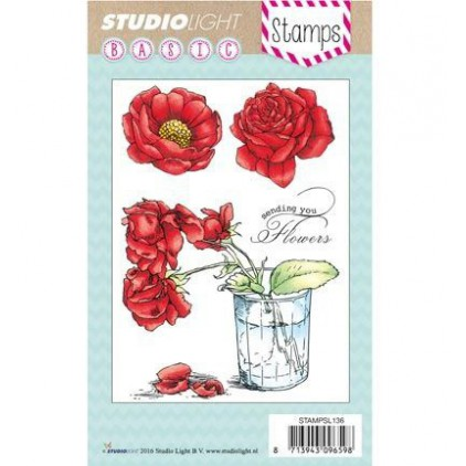 Stemple / pieczątki - Studio Light - A6 - Roses in a pot - STAMPSL136