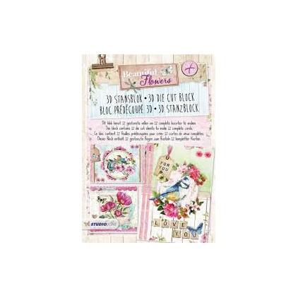 Blok papierów do tworzenia kartek i scrapbookingu - Studio Light - Beautiful flowers- STANSBLOKBF40