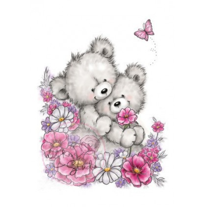 Set of clear stamps -Wild Rose Studio - Teddy with Flowers CL490
