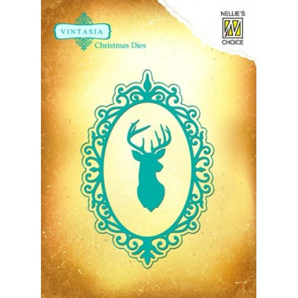 "Die-cut- Nellies Choice - Vintasia Dies ""Rendeer Frame"" VIND043"