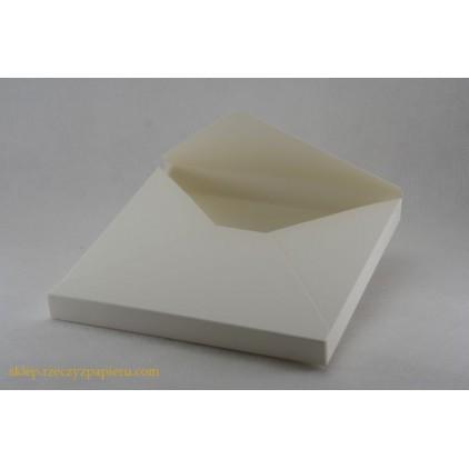 A box /envelope 3D- 15x15x1,5 cream - Rzeczy z Papieru