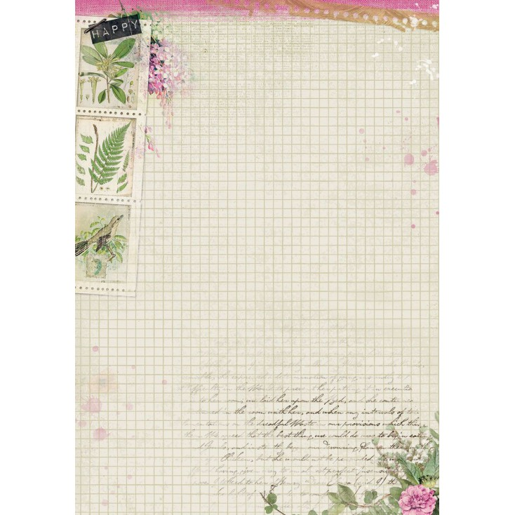 Scrapbooking paper A4 - Studio Light - Romantic Botanic - BASISBF246