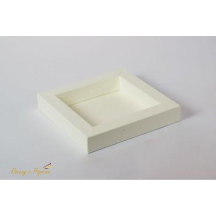 Pudełko shadow box 15x15x2,5 kremowe - Rzeczy z Papieru