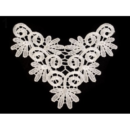 Lace application 3D- white - 1 pcs. lewa