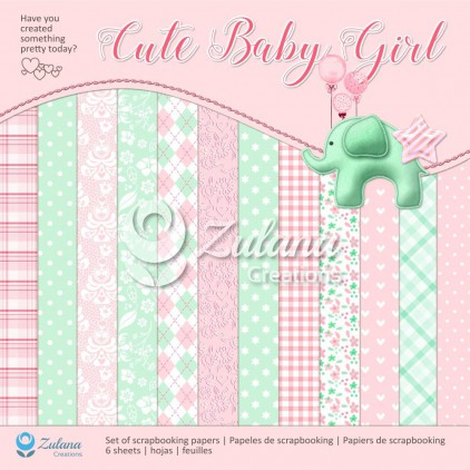 Set of scrapbooking papers - Zulana Creations - Cute Baby Girl