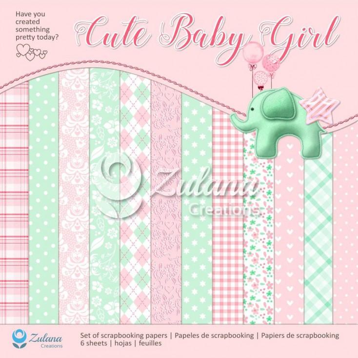 Zestaw papierów do tworzenia kartek i scrapbookingu - Zulana Creations - Cute Baby Girl