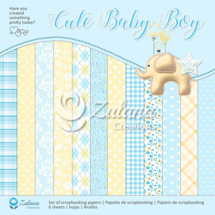 Zestaw papierów do tworzenia kartek i scrapbookingu - Zulana Creations - Cute Baby Boy