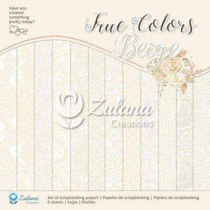 Zestaw papierów do tworzenia kartek i scrapbookingu - Zulana Creations - True Colors - Beige
