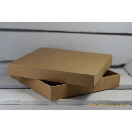 A box for a card full, low square- 15x15x2,5  kraft - Rzeczy z Papieru