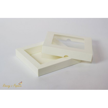 Pudełko shadow box z okienkiem 15x15x2,5 kremowe - Rzeczy z Papieru