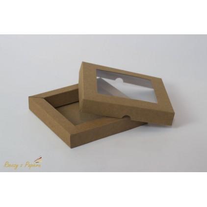 Pudełko shadow box z okienkiem15x15x2,5 kraft - Rzeczy z Papieru