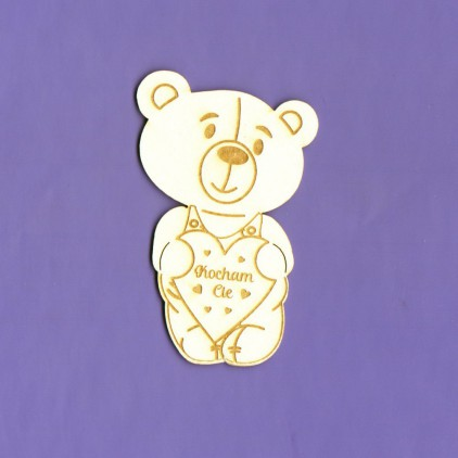 110 laser cut, chipboard - Teddy bear with heart - Crafty Moly