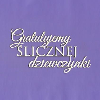 cardboard element inscription Gratulujemy ślicznej dziewczynki - Crafty Moly 1339
