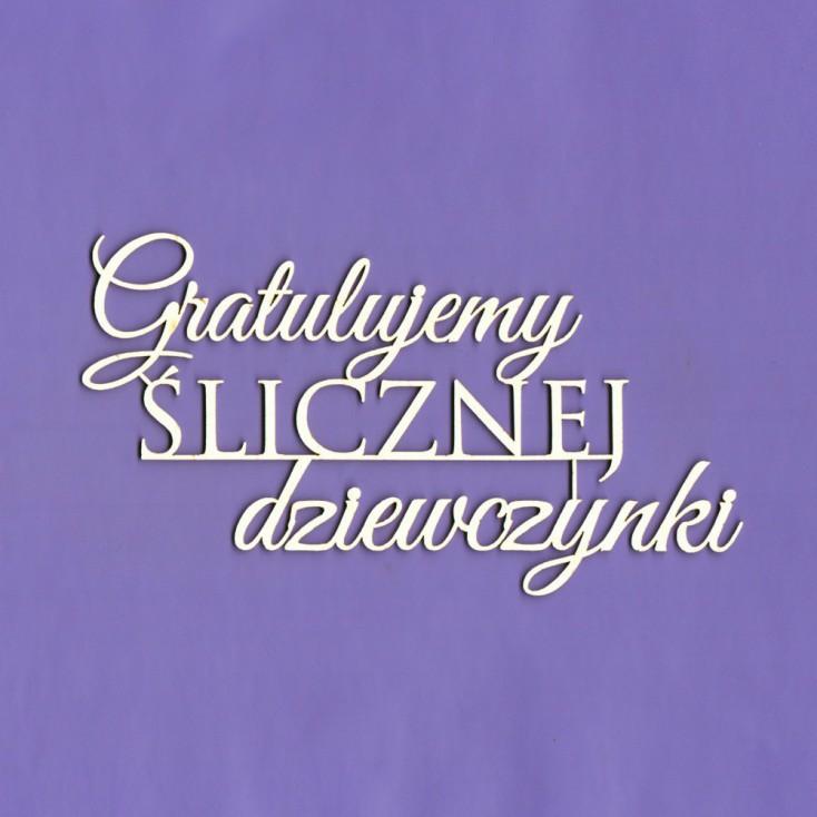 Tekturka -Crafty Moly - napis Gratulujemy ślicznej dziewczynki G5