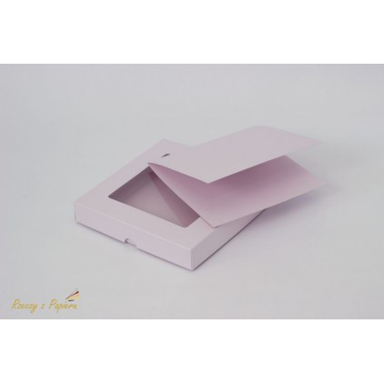 Pudełko na kartkę z okienkiem + baza, niskie kwadratowe 15x15x2,5 różowe - Rzeczy z Papieru