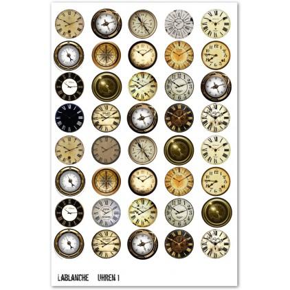 Papier do scrapbookingu obrazki A4- La Blanche - Uhren 2