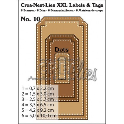 Die- Tags with holes - Crealies XXL Labels and Tags 10 - CLLT10
