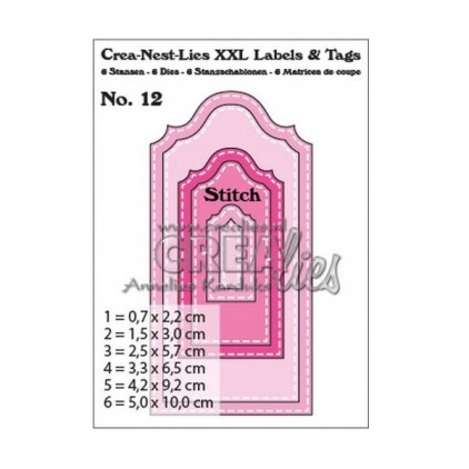 Die- Tags with stitching - Crealies XXL Labels and Tags 12 - CLLT12