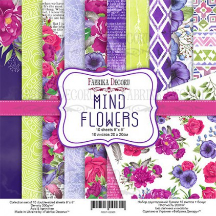 Set of scrapbooking papers - Fabrika Decoru 20 x 20cm - Mind Flowers