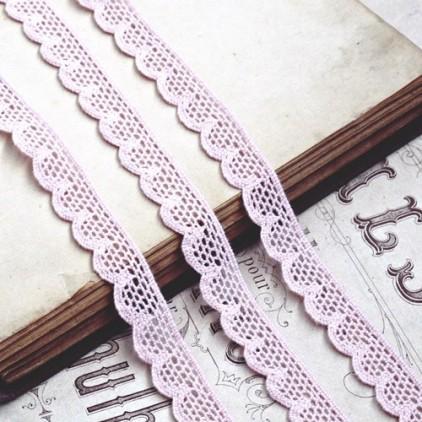 Koronka bawełniana - różowa - 1 metr