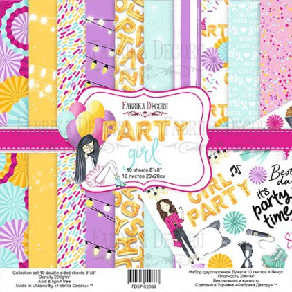 Set of scrapbooking papers - Fabrika Decoru 20 x 20cm - Party Girl