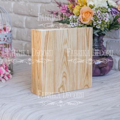 """Baza albumowa kwadratowa- tekstura -""""Pine board with gold"""" - 20x20x7 cm - Fabrika Decoru"""
