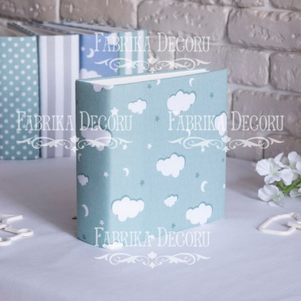 Album base square- Textile - Mint clouds - 20x20x7 cm - Fabrika Decoru
