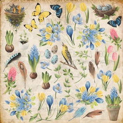 Papier do tworzenia kartek i scrapbookingu - Fabrika Decoru - Botany Spring  - Obrazki do wycinania